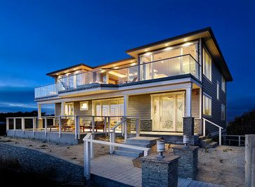 Modern beach house exteriors beach house modern for Craftsman beach house