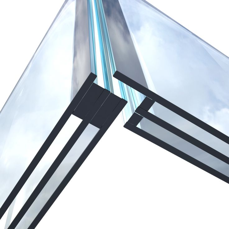 Verglasung über Eck ohne Rahmen, Innovative Rahme…