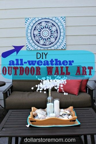 "DIY all weather outdoor wall art (project #2 in my ""use what you have"" patio decor challenge!) via dollarstoremom.com"