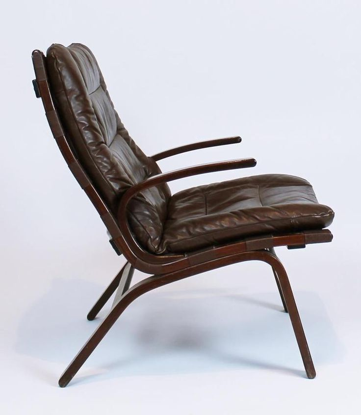 Vintage 1970 Danish Modern Rosewood Leather Easy Lounge