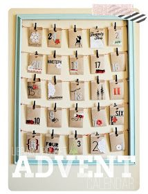 Advent Calendar: Frame, Clothespins, envelopes. Could be used for other things at other seasons