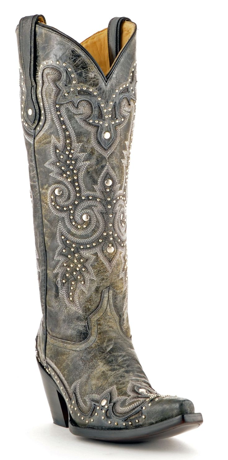 NEW! Womens Corral  Boots Black And Grey #G1030