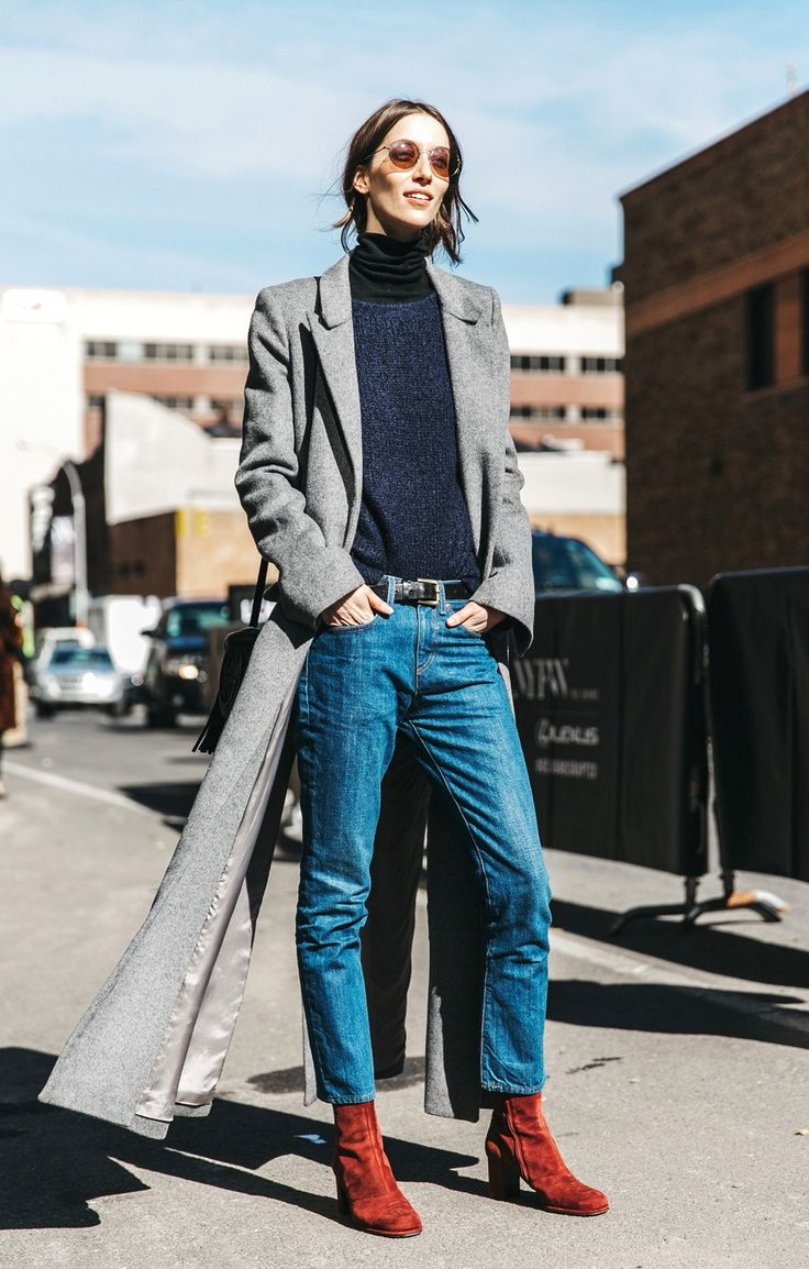 A Model-Off-Duty Way to Wear Cropped Denim for Winter via @WhoWhatWear