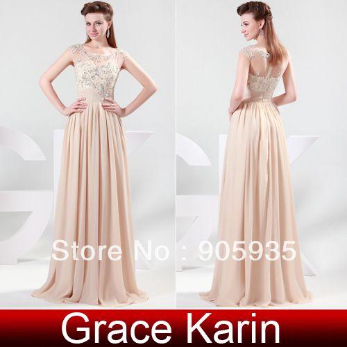 Free Shipping 1pc/lot Grace Karin Chiffon Full Length Elegant Long Skin Color Formal Celebrity Evening Dress CL4473 $64.49
