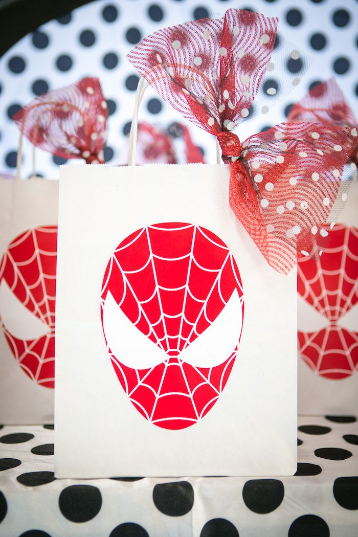 Spider Man favor bag from a Spectacular Spider Man Birthday Party on Kara's Party Ideas | KarasPartyIdeas.com (33)