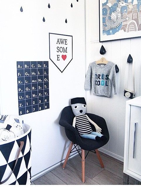 Boys room. wall sticker. monochrome. Wondermade walls. Alphabet wall sticker