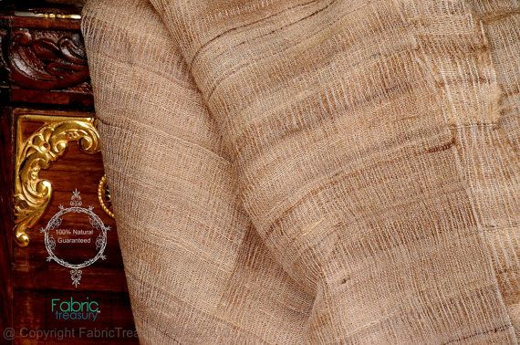 "Wild silk. Foraged by forest dwellers, hand woven peace silk by tribal communities. 42"" / 105cm wide."