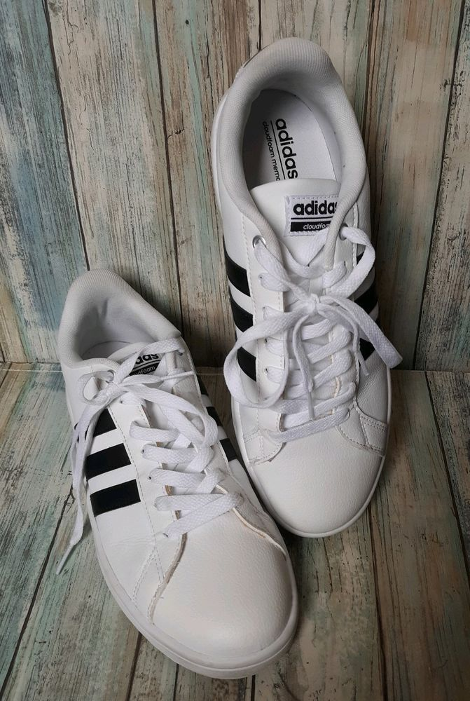 finest selection ed2ef f13f4 ADIDAS NEO CLOUDFOAM sneakers tennis shoes leather black stripe EUC sz 8.5   adidas  WalkingShoes
