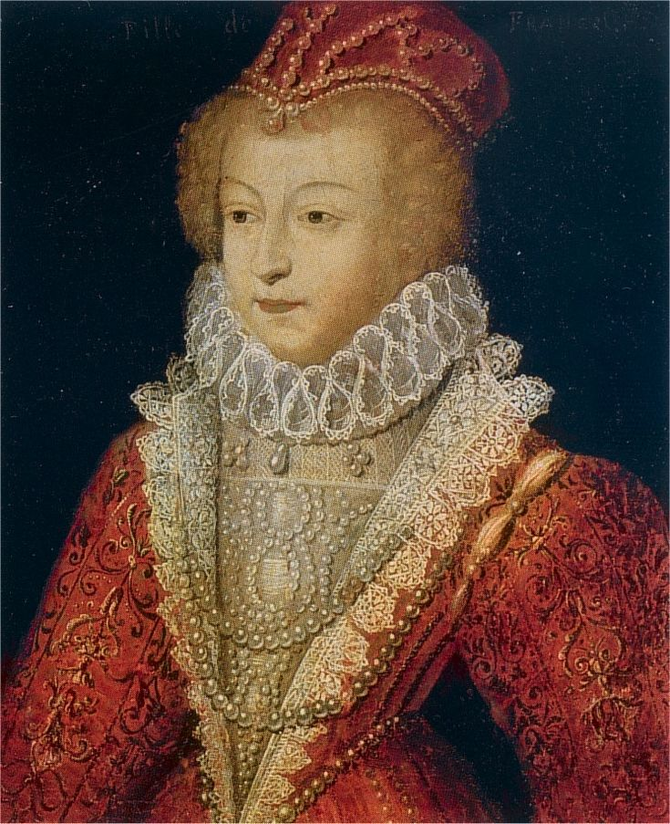 1572 Margauerite de Valois by Francois Clouet(?)     Istituto Geografico De Agostini?)This lower quality portrait shows Marguerite de Valois wearing a jeweled hat and dress with high enclosing neckline and neck ruff.    This is from later in the century based on the fully puffed sleeves and necklaces. This portrait is almost Elizabethan. The bodice has a distinct central part, a stomacher, framed by vertical sections that are distinct from the rest of the bodice - revers. In this case, the…