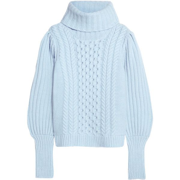 Temperley London Shade cable-knit merino wool turtleneck sweater ($1,275) ❤ liked on Polyvore featuring tops, sweaters, lilac, cable sweater, merino wool sweater, merino sweater, blue turtleneck and blue sweater