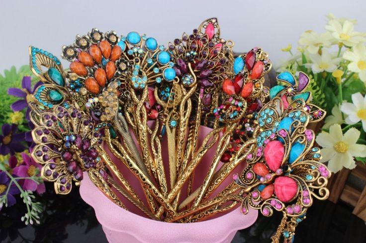 2015 retro mix rhinestone bridal hair jewelry accessories bohemian hairpin vintage, antique Chinese hair stick pin chopsticks(China (Mainland))