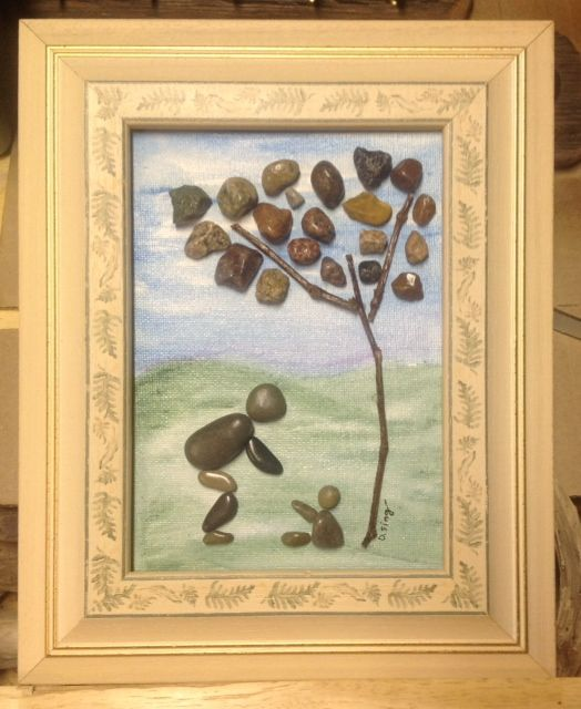 Pebble art mother and child. See Sticks 'n Stones Rustic Art on FB! #crafts, #pebble, #sticks, # handcrafted