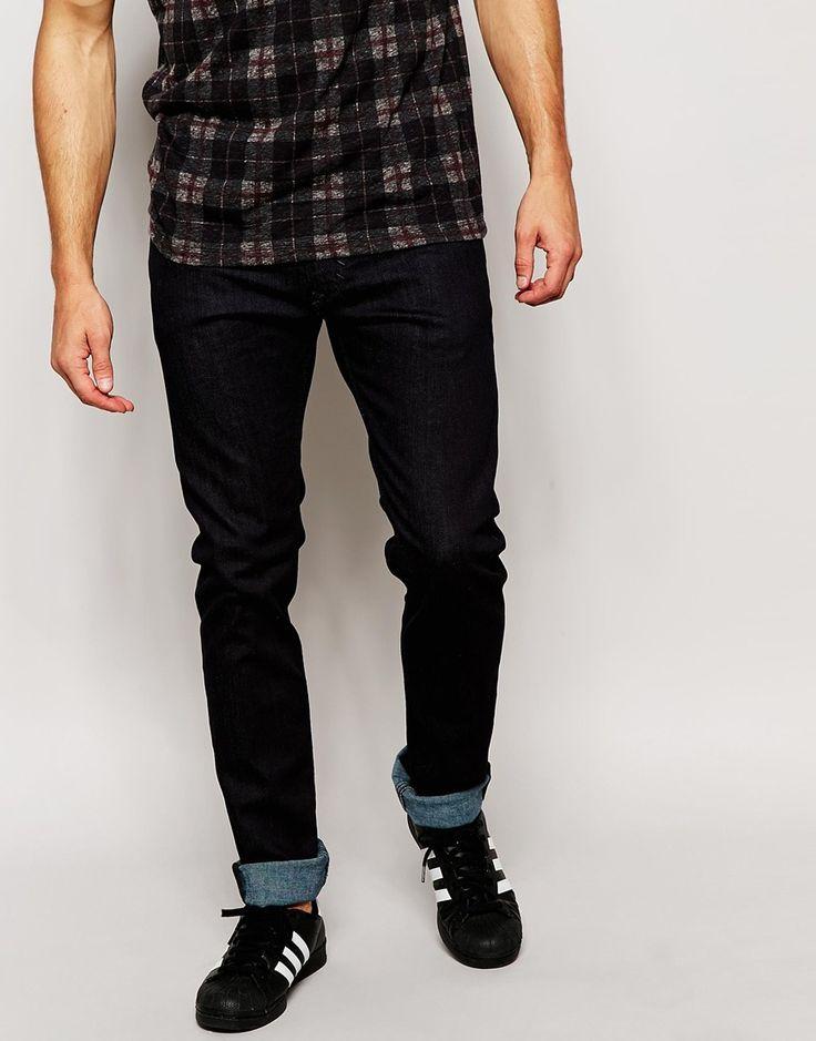 Image 1 ofDiesel Jeans Thavar 607A Slim Tapered Fit Stretch Dark Wash