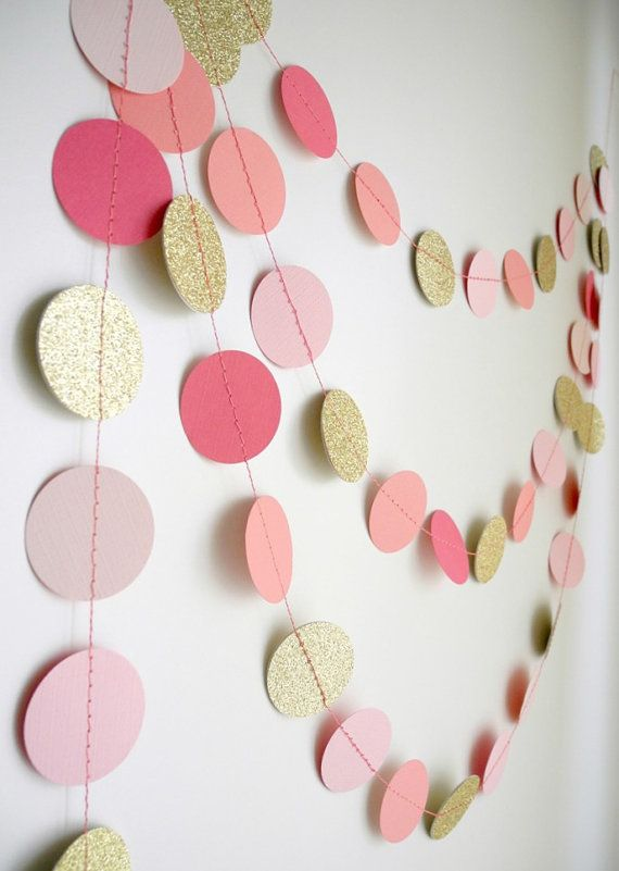 Gold Pink garland glitter garland circle paper by HoopsyDaisies