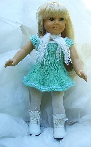 Camillia pattern for American Girl  skating dress on Ravelry.  Also a lovely full length version. $3