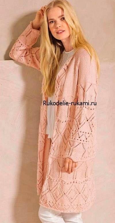 Как связать спицами Удлиненный жакет нежно-розового цвета #вязание #спицами #рукоделие #хендмейд #вязаниеспицами