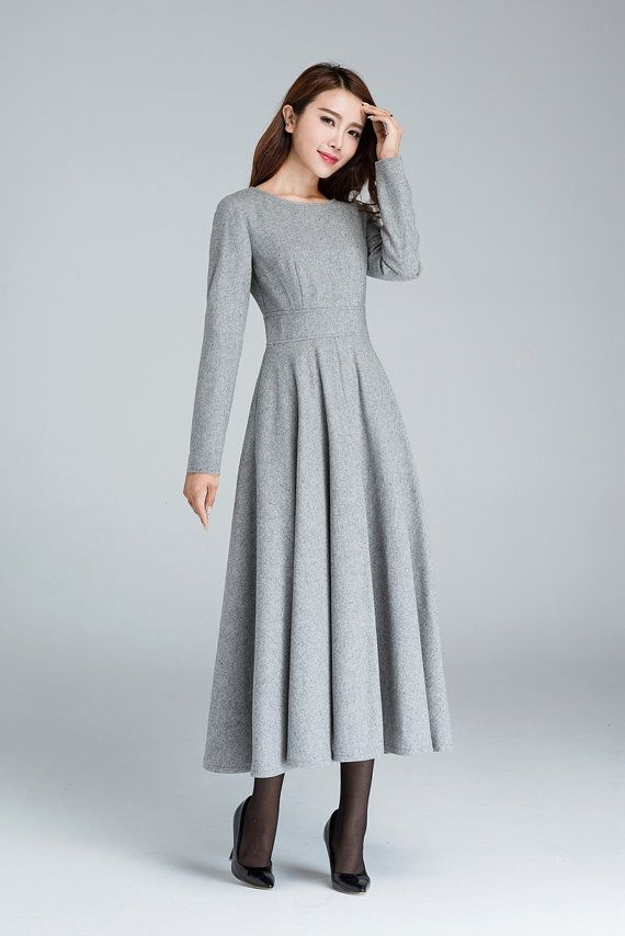 grey wool dress, elegant dress, wool clothing, party dress, fit and flare dress,ladies dresses with pocket, custom made dress  1616