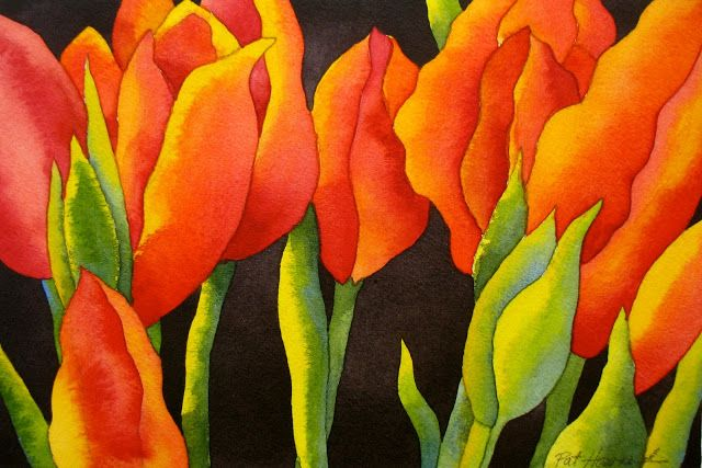 The Painted Prism: WATERCOLOR PROJECT, STEP-BY-STEP: Red Tulips with Black Background Pat Howard
