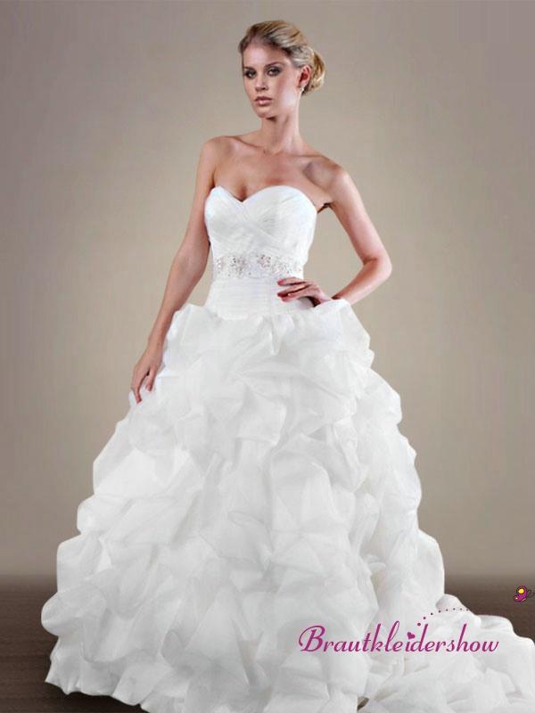 Luxuriös Brautkleid Volant Über Kreuz Duchesse-Kleid ...