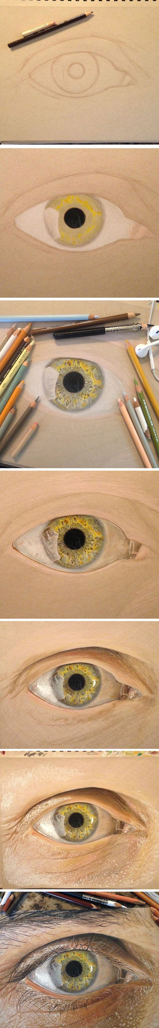 Jose Vergara (a.k.a. Redosking), a 19-year-old artist from Texas, is drawing close-ups of the human eye with the sort of hyper-realistic level of detail that one would ordinarily expect from experienced masters.  Vergara draws using only colored pencils, which makes his work all the more impressive. Most of us use or have used, at one point or another, colored pencils, which makes it easier to realize just how much more talented he is than most of us.