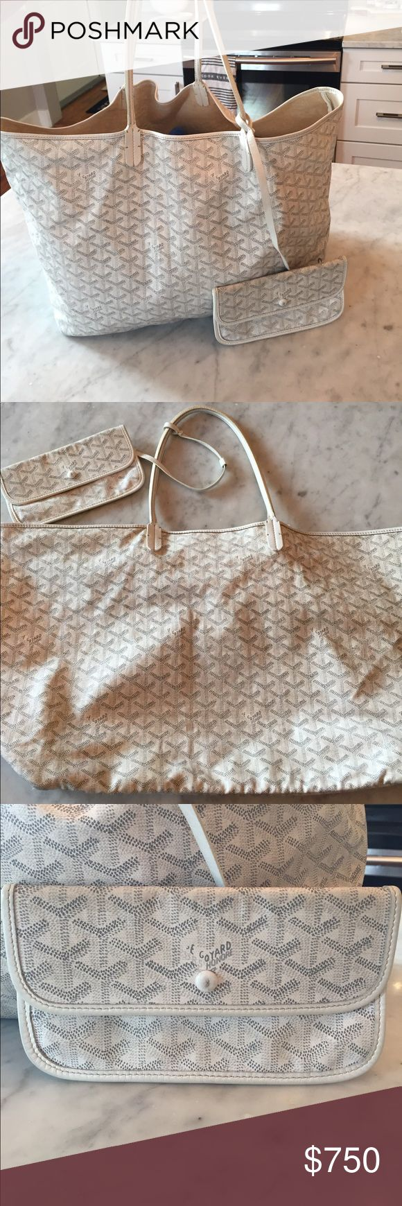 Goyard St. Louis Tote GM Authentic. See marking. Cracking on both leather handles which is reflected in price. Small ink stain on interior of clutch and a mark on the button closure. Tote interior has light marks. Abrasion on bottom corners. No rips. No trades. Goyard Bags Totes