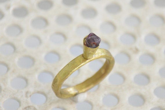 Amethyst brass gold ring Ready to ship item by zOOzART on Etsy, $23.00