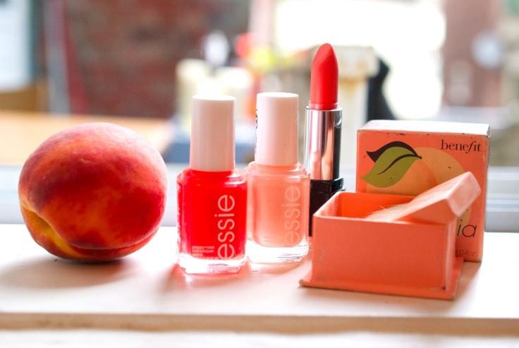 peach makeup: Essie nail polish, makeupforever lipstick and benefit blushMakeupforever Lipsticks, Essie Nails, Peaches Pit, Coral Peaches, Beautiful, Peachy Keen, Peaches Makeup, Nails Polish, Products