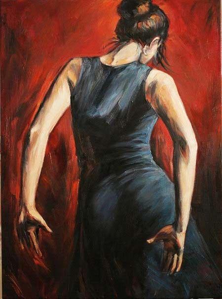 Hot 100% peint à la main espagnol flamenco danseurs tango noir et or robe avec cadeau livraison gratuite de haute qualité peinture à l'huile(China (Mainland))