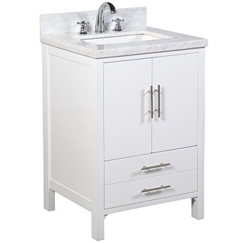 24 inch bathroom vanity carrara white includes a modern white