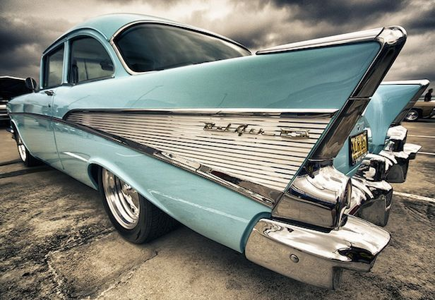 Classic Car: fins.... I love fins! Especially on this Bel Air. ...Brought to you by  #HouseofInsurance #EugeneOregon
