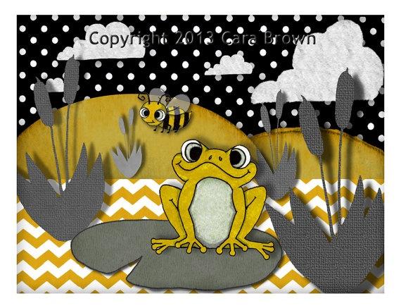 Frog Nursery Art Grey black Yellow with Chevron by ApplewoodKnoll, $35.00