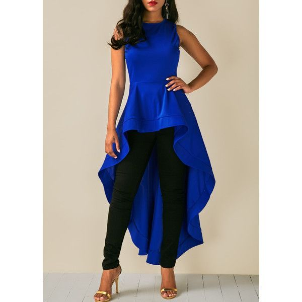 Rotita Royal Blue Round Neck High Low Blouse ($33) ❤ liked on Polyvore featuring tops, blouses, blue, sleeveless collared blouse, sleeve top, round neck blouse, long sleeve tops and royal blue top
