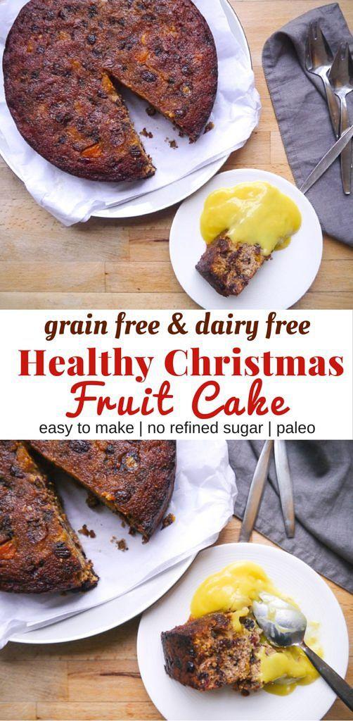 A healthy Christmas fruit cake recipe that's gluten free, dairy free and grain free using almond flour and coconut flour. Easy to make! Recipe via nourisheveryday.com