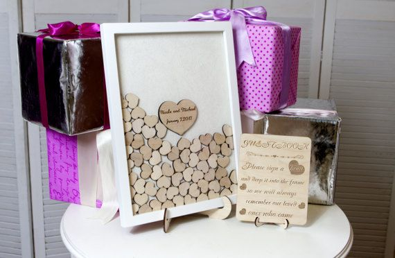 Wedding Guest Book Alternative Guest Book Drop Top hearts Rustic guestbook Hearts Guestbook Alternative White Heart Guest Box,Wedding Sign  THE SET CONTAINS THE FRAME, SIGN ( a smaller variant of the sign)AND SMALL HEARTS!  I can also send you a sign as a gift with your order, please write that you demand a sign in the note box if you need one:) Thanks:)  THE RUSTIC PEN CAN BE PURCHASED HERE:  https://www.etsy.com/listing/476033072/wedding-guest-book-alternative-rusti...
