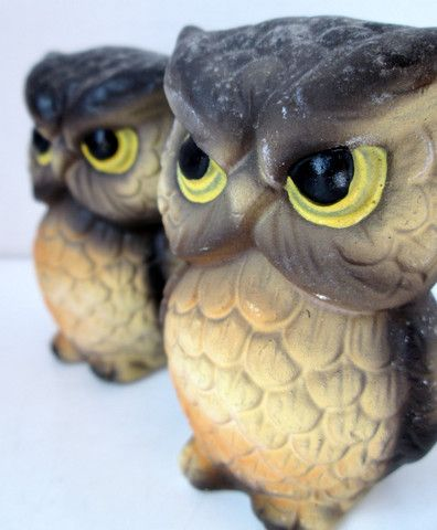 Vintage Owl Salt and Pepper Shakers Brown and Yellow Matte Finish – VintageVirtue.net