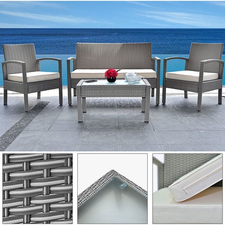 7pcs Polyrattan Patio Simple Set Grey - 5mm Glass Plate 7cm thick Seat Cushions - 4250525327847 - Garden and Outdoor