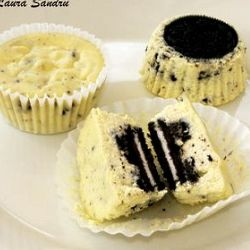 """oreo cheesecakes - they were good, easy and quick. I only did a half batch and it made 15 muffin tins. I might try Greek yogurt instead of sour cream next time as it was a little """"sour creamy"""" tasting. Good dessert for a party as it is individual servings."""
