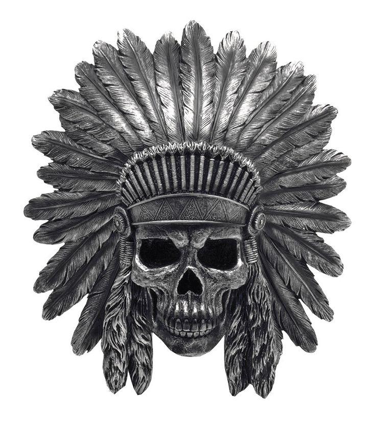 Indian Chief Skull In Headdress Wall Mount Mehr