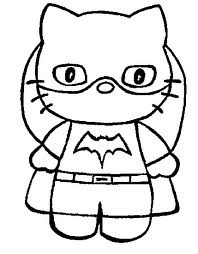 Hello Kitty As Batgirl Printable Coloring Page