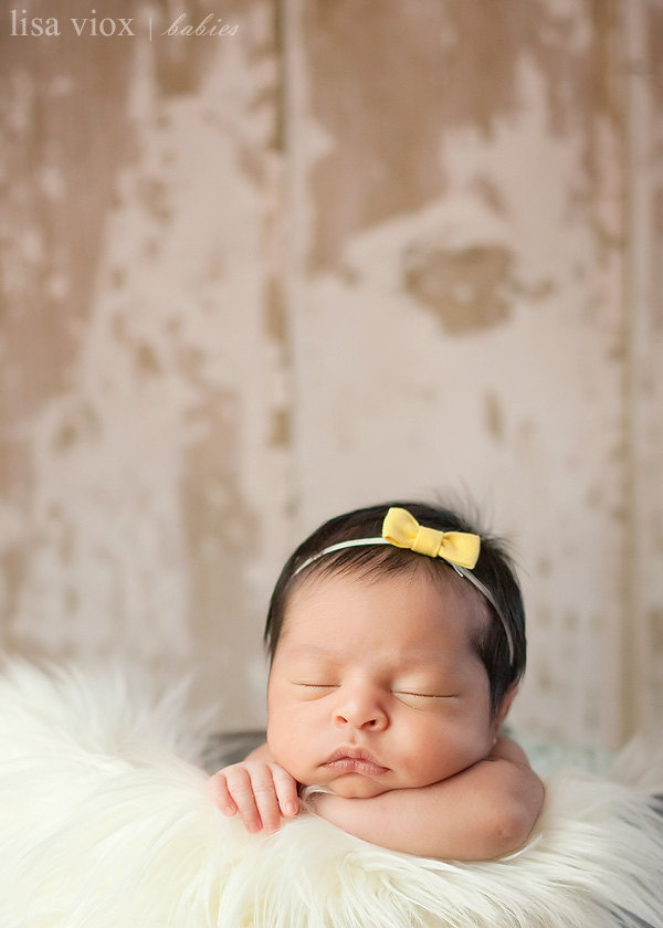 Tiny mustard bow baby newborn girl headband clip photography prop the mae