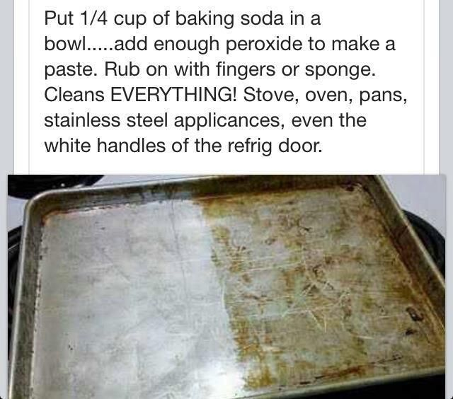 put 1/4 cup baking soda in a bowl and add enough peroxide to make a paste. rub on with fingers or sponge. cleans everything; including stoves, ovens, pans, stainless steal appliances & more!