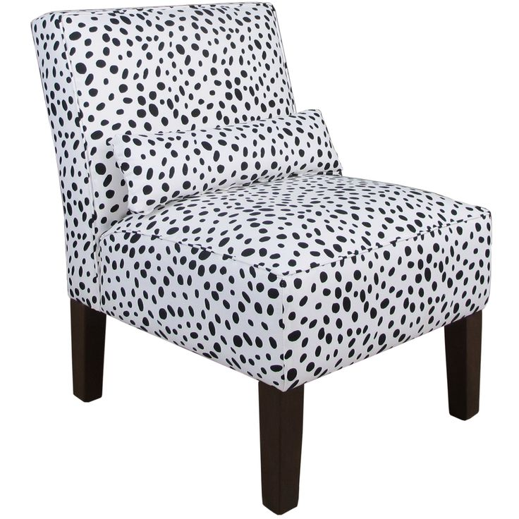 Recline on this comfortable armless chair made with polyurethane and polyester fill for a plush feel. Featuring a black-and-white polka-dot pattern, this chair has a modern appearance that captures at