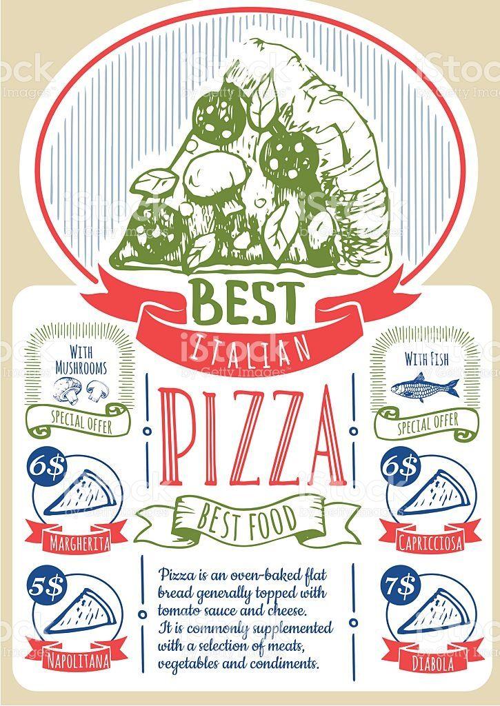 ベクトルイラスト、ピザ料理をお楽しみいただけます。ピザのポスター。 ロイヤリティフリーのイラスト素材