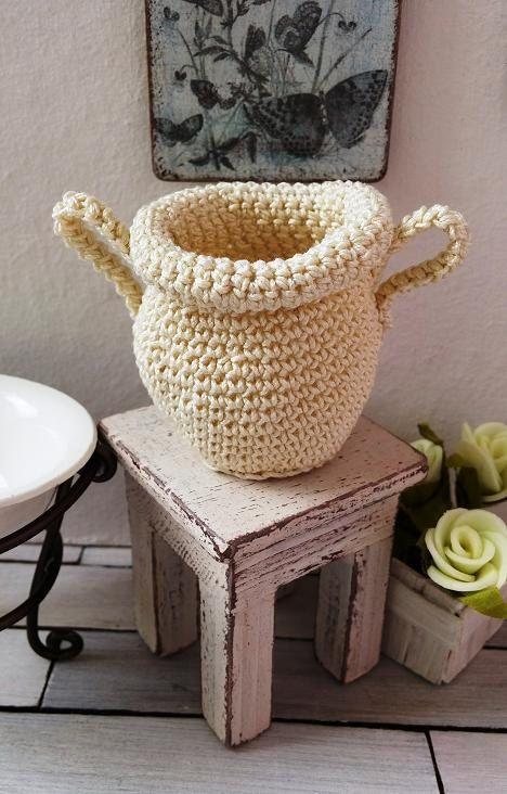 Dollhouse basket  miniature crochet basket  1 12 by DewdropMinis