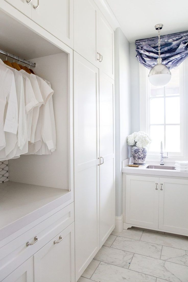 Laundry Room Reveal | Ivory Lane / wall color is Wickham Gray and the cabinet color is White Dove.