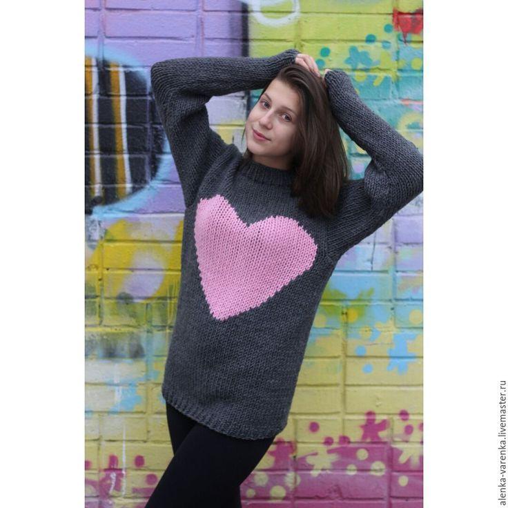 """Купить Свитер """"В моем сердце всегда Любовь"""" - серый, свитер вязаный, свитер с рисунком"""
