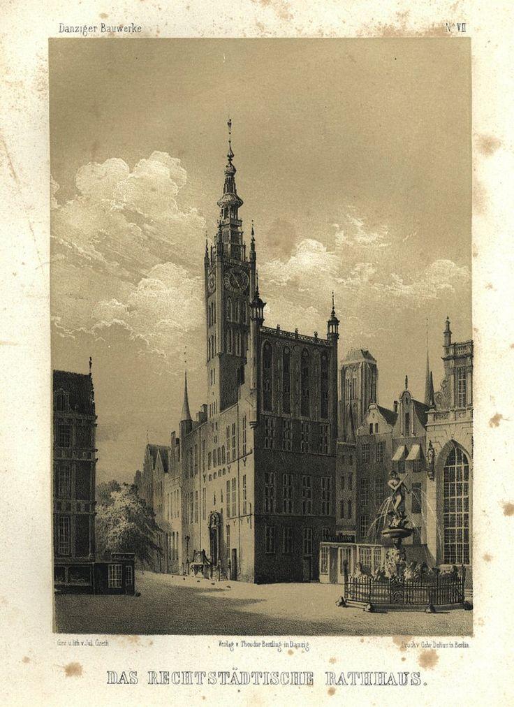 Ratusz Głównego Miasta - Muzeum Historyczne Miasta Gdańska (Rechtstädtisches Rathaus), Gdańsk - 1857 rok, stare zdjęcia