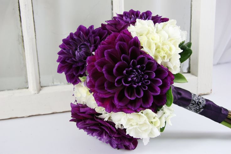 Dahlia Purple Hydgrangea Wedding Bouquet | Lavender and Purple Bouquets