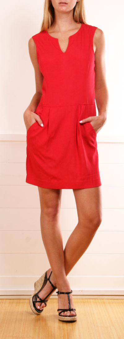 Red THEORY dress // designer wears #wearabledesign