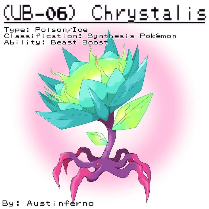 This is my fan Ultra Beast, UB-06 Synthesis, Chrystalis. It's attracted to all things that emit light. It absorbs light and turns it into extremely powerful attacks. It's a special attacking Pokemon's worst nightmare. Stats: Hp- 67 Speed- 90 Att- 58 Sp.Att- 165 Def- 40 Sp.Def- 150 Total= 570 #pokemon #pokemonart #pokedex #ultra #beast #ultrabeast #flower #poison #bug #ice #crystals #purple #blue #synthesis #legendary #alien #creepy #monster #drawing #doodle #painting #digitalart #digital ...